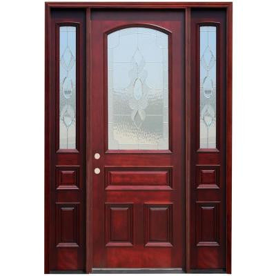 64 in. x 96 in. Traditional 3/4 Arch Lite Stained Mahogany Wood Prehung Front Door with 14 in. Sidelites