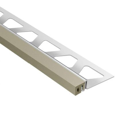 Dilex-KSA Stainless Steel with Grey Insert 5/8 in. x 8 ft. 2-1/2 in. Rubber and Metal Movement Joint Tile Edging Trim