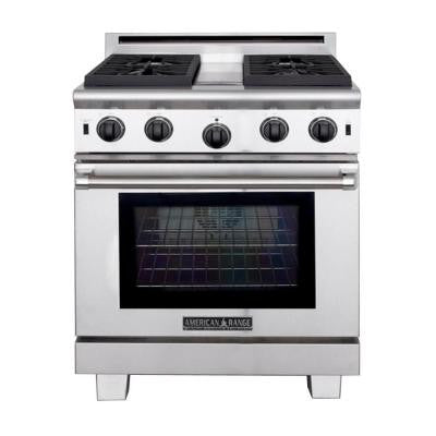 30 in. 4.6 cu. ft. Gas Range with Manual-Cleaning Convection Oven in Stainless Steel