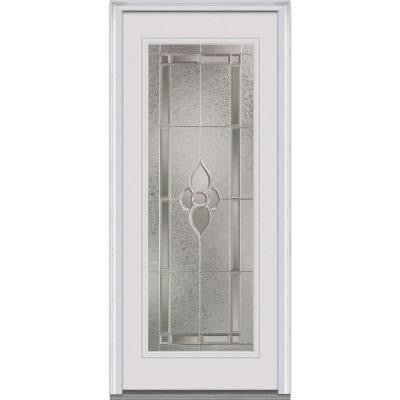 34 in. x 80 in. Master Nouveau Decorative Glass Full Lite Primed White Fiberglass Smooth Prehung Front Door
