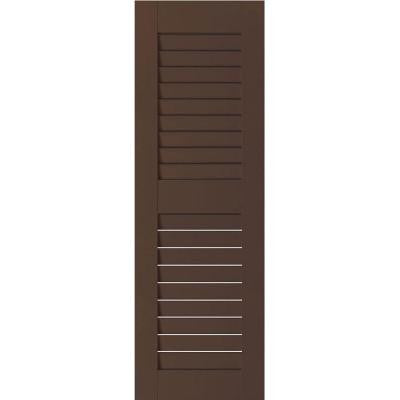 18 in. x 27 in. Exterior Real Wood Western Red Cedar Louvered Shutters Pair Tudor Brown
