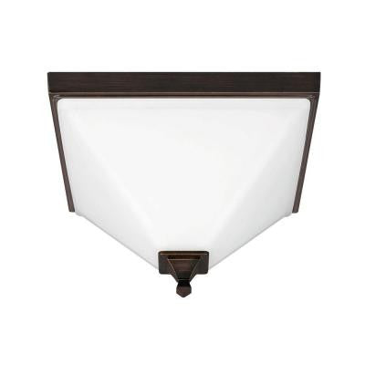 Denhelm 2-Light Burnt Sienna Semi-Flush Mount Convertible Pendant with Inside White Painted Etched Glass