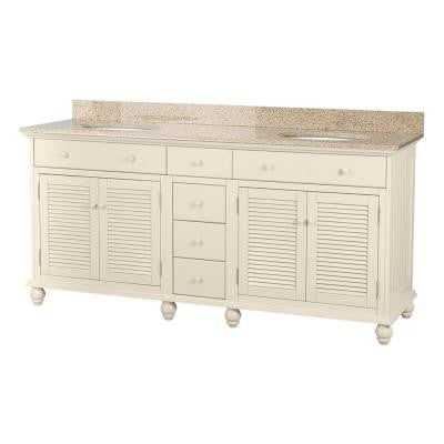 Cottage 72 in. Vanity in Antique White with Granite Vanity Top in Mohave Beige and 2 Under-Mount Sinks in White