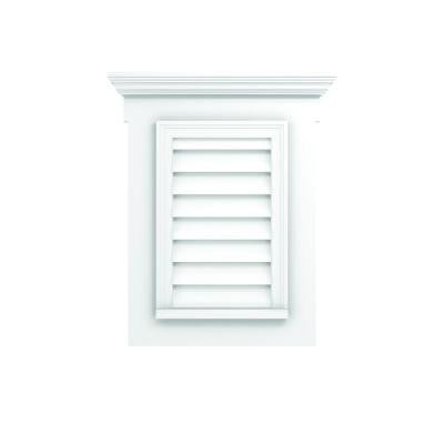 27-1/2 in. x 33-1/2 in. Polyurethane Decorative Vertical Louver Vent with Flat Trim and Crosshead
