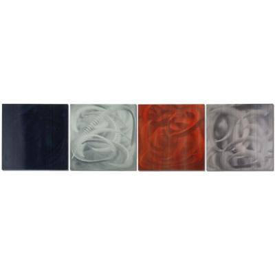 Brevium 12 in. x 50 in. Sophistication Metal Wall Art (Set of 4)