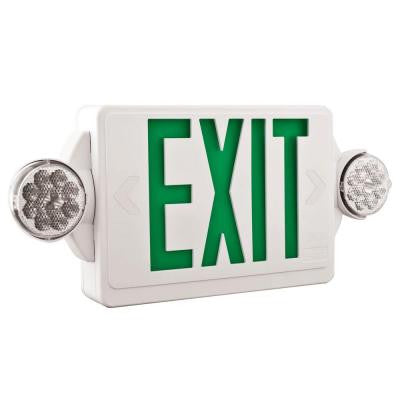 LED White with Green Stencil Exit Sign/Emergency Light Combo