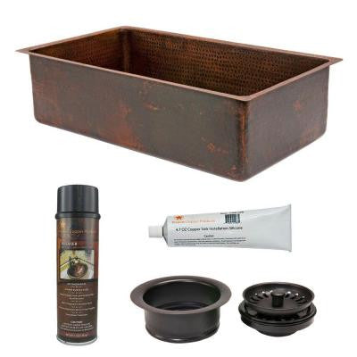 Undermount Hammered Copper 33 in. 0-Hole Single Bowl Kitchen Sink and Drain in Oil Rubbed Bronze