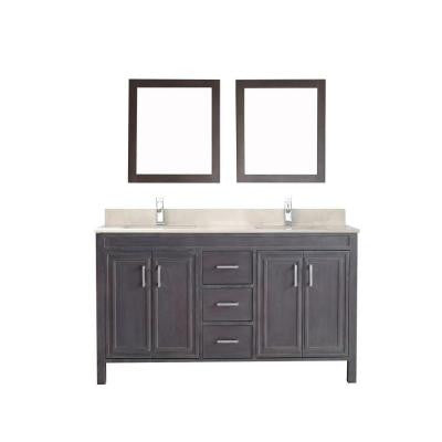 Dawlish 60 in. Vanity in French Gray with Marble Vanity Top in Beige and Mirror