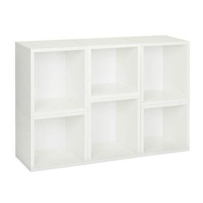 6-Cube Stackable Arlington Modular Bookcase and Eco Storage Shelf in White
