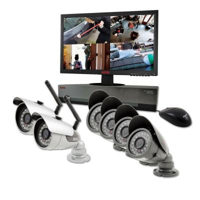 8-Channel 1 TB DVR Surveillance System with 2 Wireless 4 Wired Bullet Cameras and 21.5 in. Monitor