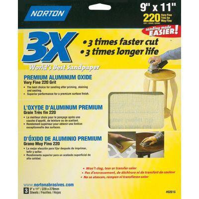 9 in. x 11 in. 220-Grit 3X Sanding Sheets (3-Pack)