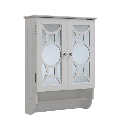 24 in. W x 9.25 in. D x 32 in. H Wall Mount Mirrored Wooden Cabinet in White
