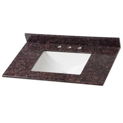 37 in. Stone Effects Vanity Top in Tan Brown with White Basin