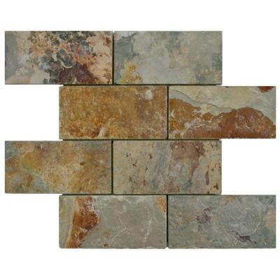 Crag Subway Sunset 11-3/4 in. x 11-3/4 in. x 10 mm Slate Mosaic Floor and Wall Tile