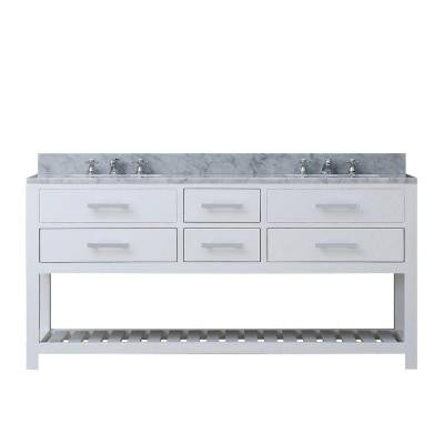 72 in. W x 21.5 in. D Vanity in White with Marble Vanity Top in Carrara White and Chrome Faucets