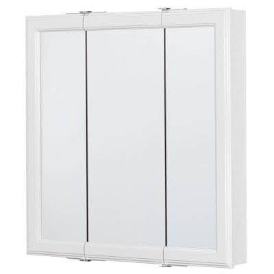 24 in. x 25 in. Surface-Mount Framed Tri-View Mirrored Medicine Cabinet in White