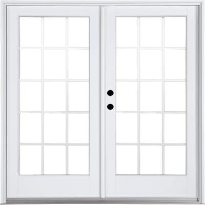 71-1/4 in. x 79-1/2 in. Composite White Right-Hand Inswing Hinged Patio Door with 15 Lite External Grilles