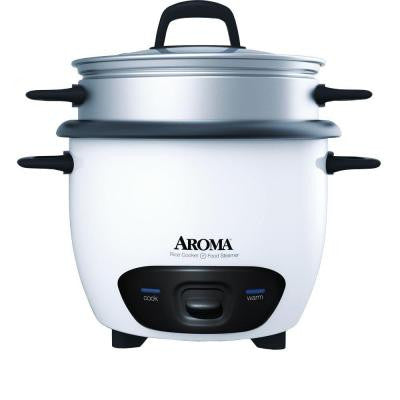 6-Cup Pot-Style Rice Cooker and Food Steamer in White