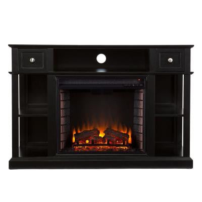 Adel 47.75 in. Freestanding Media Electric Fireplace in Black