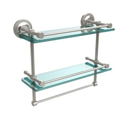 16 in. W Gallery Double Glass Shelf with Towel Bar in Satin Nickel