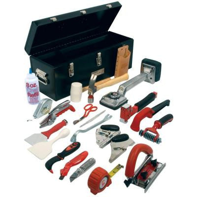 Pro Carpet Installation Tool Kit with 22 Tools and Steel Tool Box