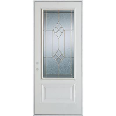 36 in. x 80 in. Geometric Zinc 3/4 Lite 1-Panel Prefinished White Right-Hand Inswing Steel Prehung Front Door