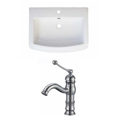 24 in. W x 18 in. D Ceramic Vanity Top Set with Basin in White with Single Hole cUPC Faucet