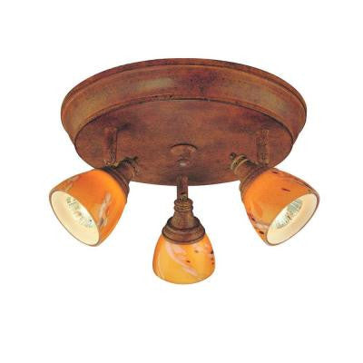 3-Light Walnut Ceiling Track Lighting Fixture with Art Glass Shades