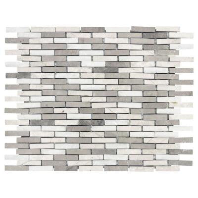 Whispering Cliffs Grey Limestone/White 11-1/2 in. x 13 in. x 10 mm Marble Mosaic Tile