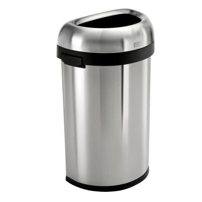 60 l Brushed Stainless Steel Semi-Round Open Trash Can