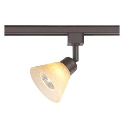 1-Light Hammered Glass Shade Linear Track Lighting Head