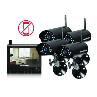 4-Channel (4) Wireless Security System with 7 in. LCD/SD DVR and Night Vision/Audio