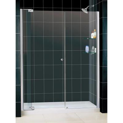 Allure 60 in. x 73 in. Semi-Framed Pivot Shower Door in Chrome with 60 in. x 30 in. Center Drain Base