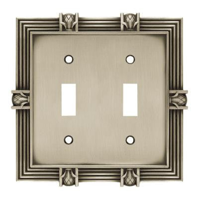 Pineapple 2 Toggle Switch Wall Plate- Brushed Satin Pewter