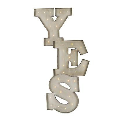 "15.5 in. H Black and Silver Metal LED Lighted ""YES"" Letters"