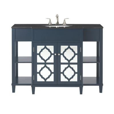 Reflections 48 in. W x 35 in. H Vanity in Inky Blue with Granite Vanity Top in Black with White Basin