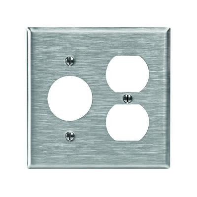 2-Gang 1 Duplex 1-Single 1.406 in. Dia Device Combination Wall Plate - Stainless Steel