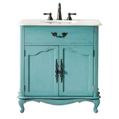 Provence 33 in. W x 22 in. D Single Sink Vanity in Blue with Marble Vanity Top in White