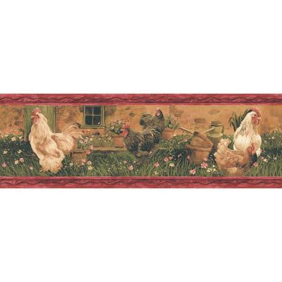 6.88 in. x 15 ft. Red Rooster Border