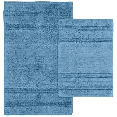 Majesty Cotton Sky Blue 21 in. x 34 in. Washable Rug 2-Piece Rug Set