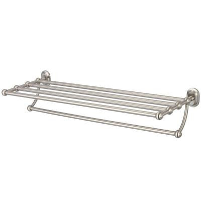29 in. Towel Bar and Bath Train Rack in Brushed Nickel
