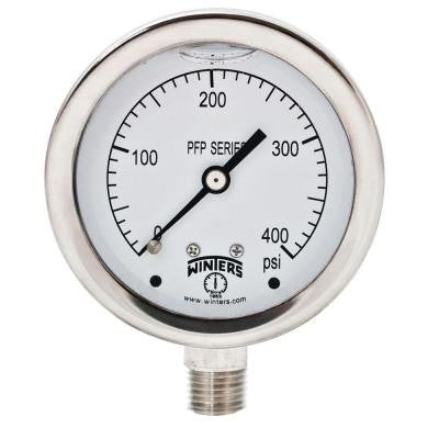 PFP Series 2.5 in. Stainless Steel Liquid Filled Case Pressure Gauge with 1/4 in. NPT LM and Range of 0-400 psi