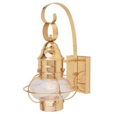 Polished Brass Outdoor Wall-Mount Lantern