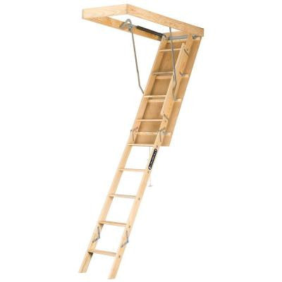 Premium Series 8 ft. - 10 ft., 22.5 in x 54 in. Wood Attic Ladder with 250 lb. Maximum Load Capacity