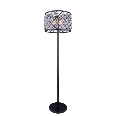 Madison 72 in. Mocha Brown Floor Lamp with Clear Crystal