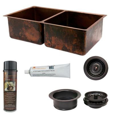 Undermount Hammered Copper 33 in. 0-Hole 50/50 Double Bowl Kitchen Sink and Drain in Oil Rubbed Bronze