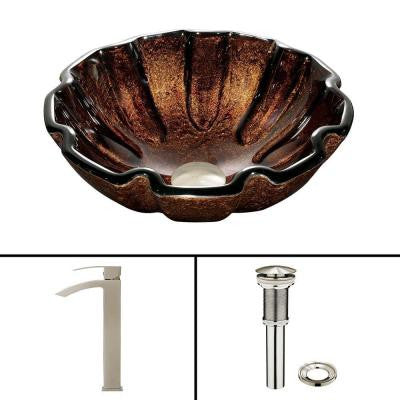 Glass Vessel Sink in Walnut Shell and Duris Faucet Set in Brushed Nickel