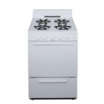 24 in. 2.97 cu ft. Battery Spark Ignition Gas Range in White