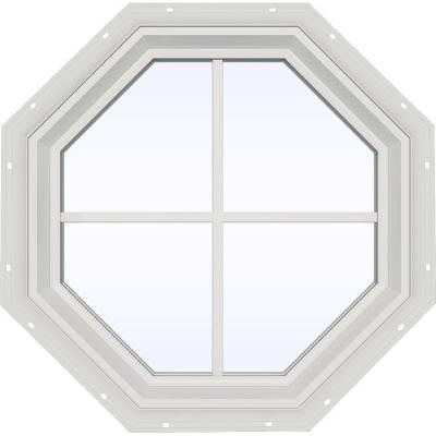 23.5 in. x 23.5 in. V-2500 Series Fixed Octagon Vinyl Window with Grids - White