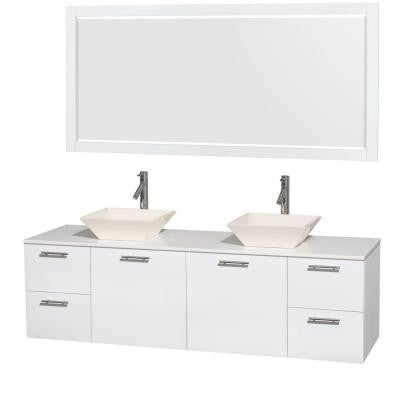 Amare 72 in. Double Vanity in Glossy White with Solid-Surface Vanity Top in White, Porcelain Sinks and 70 in. Mirror